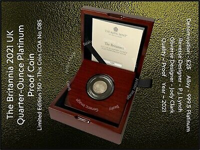 The Britannia 2021 UK Quarter-Ounce Platinum Proof Coin - This Coin COA 085