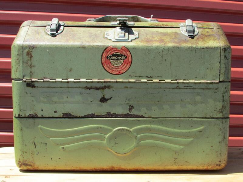 Vintage Simonsen Fishing Tackle Box & Contents Full Lots of Lures,Spoons,Reels +