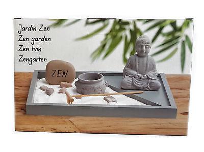 Mini Zen Garten mit Buddha Figur - 6-teilig - Japanischer Steingarten Tischdeko