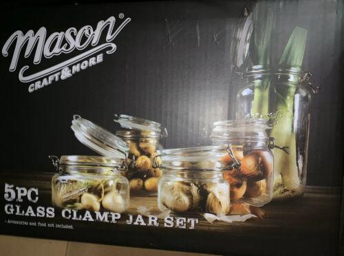 Mason Craft and More 5 Piece Set Glass Clamp Jar Storage Kit