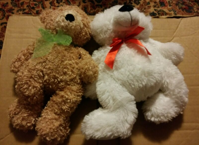 000 Lot of 2 Cute Teddy Bears Ty Silk White w Red Ribbon Brown Green Ribbon 2006
