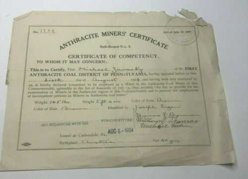 1924 Miners Anthracite Certificate of Competency Michael Zavacky Carbondale Pa