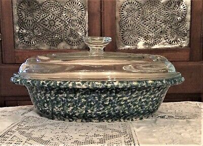 Workshop of Gerald E Henn BLUE GREEN Oval Baker with Lid Roseville Henn Pottery