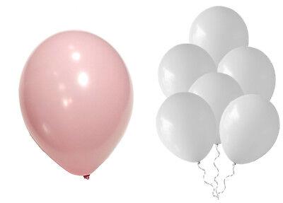 cm Rosa+Weiß gem.Hochzeit Baby Party Ballons Geburtstag Taufe (Rosa Luftballons)