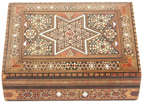 Vintage Syrian Damascus Inlaid Marquetry Wooden Trinket Box Middle Eastern Syria
