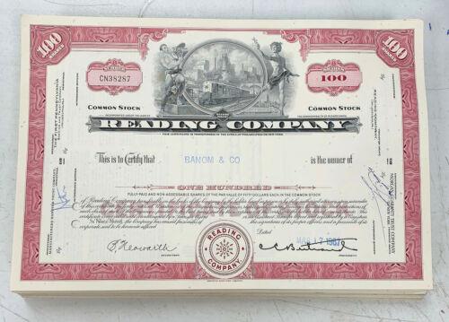 Reading Company (Railroad) 100 Share Stock Certificate Railroad Red 1965-1970