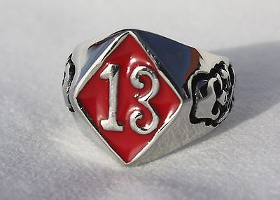 Red Lucky 13 Skull  Ring Solid  Sz 8,9,10,11,12,13,14,15