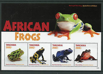 Tanzania 2015 MNH African Frogs 4v M/S II Poison Dart Frog Amphibians Stamps