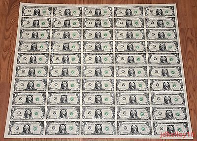 1 Uncut Sheet 1X50 One Dollar Bills 2013 United States Currency Money Bep New
