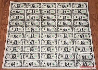 $1 UNCUT SHEET 1x50 ONE DOLLAR BILLS 2017 UNITED STATES CURRENCY MONEY BEP NEW Dollar Bills Money Currency