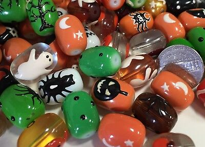 Halloween Mix Ghost Pumpkin Spider Candy Hand Painted Beads DIY Jewelry 20 pcs  - Pumpkin Spiders