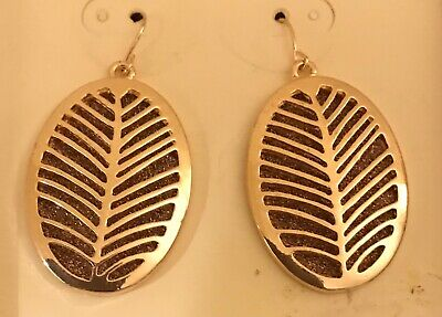 Palm Leaf Cut Out (New Large Palm Leaf Cut Out Dangle Rose Gold Tone Fish Hook Earrings  )