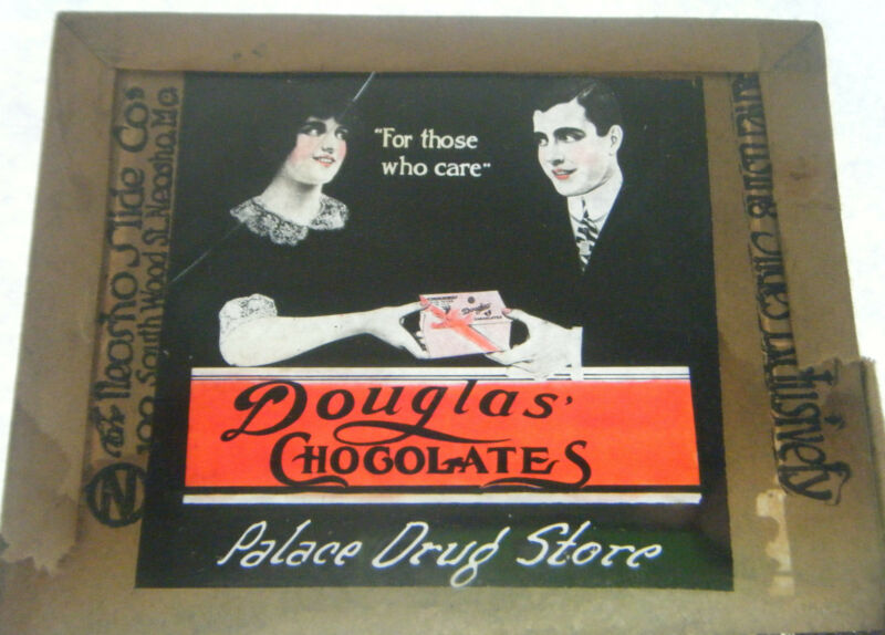 Douglas Chocolates Magic Lantern Glass Slide Palace Drug Store Advertisement