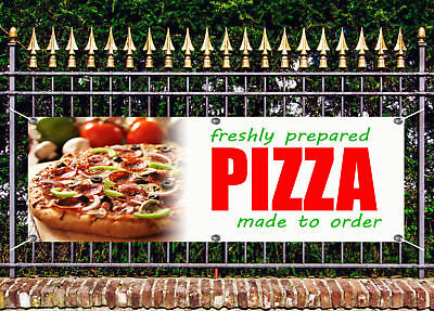 OUTDOOR PVC  FRESHLY PREPARED PIZZA BANNER TAKEAWAY SIGN ADVERT FREE ART WORK