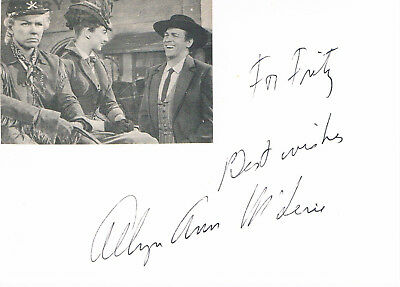 "Allyn Ann McLerie 1926- autograph signed card 4""x6"" w. attached magazine picture"