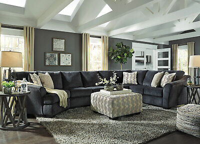 FINN Modern Sectional Living Room Furniture - 4p Dark Gray Fabric Sofa Couch Set