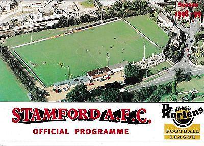 Football Programme STAMFORD v SHEPSHED DYNAMO Oct 1998