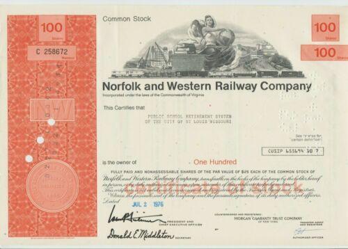 Norfolk & Western Railroad Company Stock Certificate Red