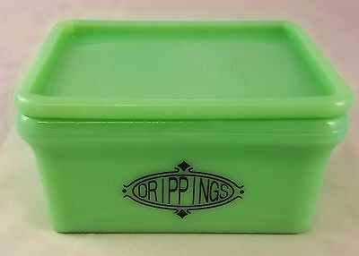 JADITE GREEN GLASS RECTANGLE SHAPED DRIPPINGS GREASE KITCHEN STORAGE CONTAINER