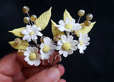 Horquillas Adorno para el Pelo-Flores Porcelana Margaritas-Tocado Novias y Damas