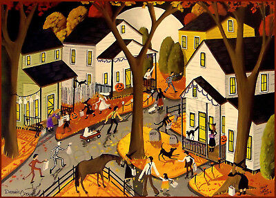 Old Fashioned Halloween (Halloween witch old fashioned dog horse cat Giclee ACEO print folk art)