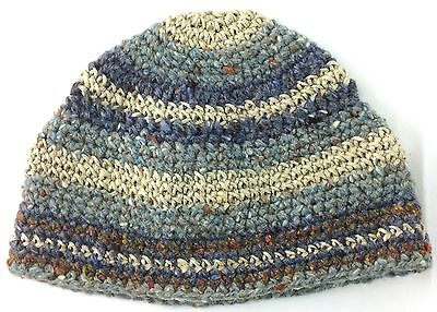 Off White Winter Beanie - Warm Blues Browns Off-White Knit Winter Beanie Hat