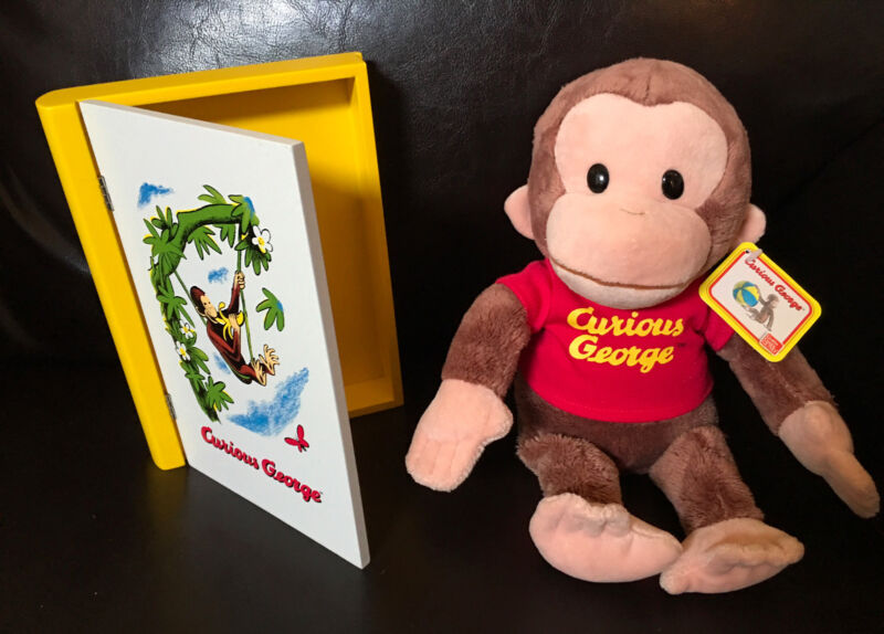 NEW Curious George Lot: Gund Plush and Wooden Trinket Storage Book Box