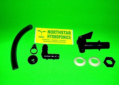 HYDROPONIC DRAIN VALVE & SIGHT TUBE KIT FOR NUTRIENT WATER LEVEL