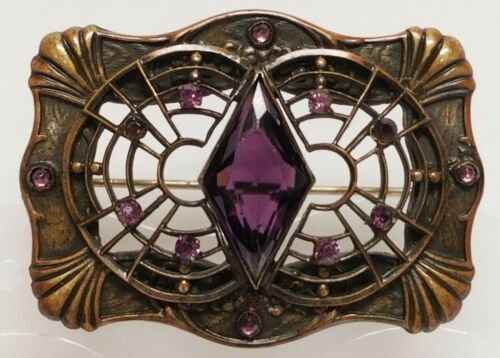Antique Art Nouveau Purple Glass & Brass Sash Pin Brooch ~ C-Clasp Closure