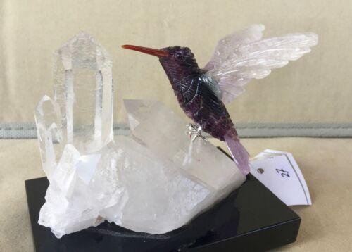 """Fluorite / Amethyst Hummingbird on Quartz Crystal 4"""" -Peter Muller"""