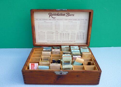 Antique SS WHITE Dental Dentist REVELATION BURS mitered wood CASE +35 burr packs