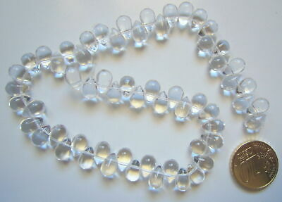 Perlas cristal lágrima 14 mm X 60 UNIDADES transparente hilo alta transparencia