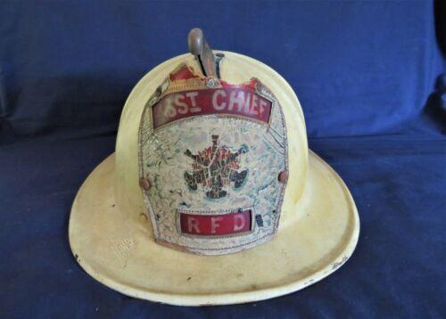 VINTAGE CAIRNS & BRO. WHITE ASST. CHIEF FIRE HELMET RFD SZ. 7-1/2