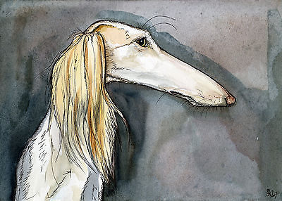 Saluki Art Dog Print - A Little Fussy