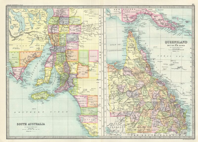 1890 Bartholomew Map of Queensland and South Australia, Australia