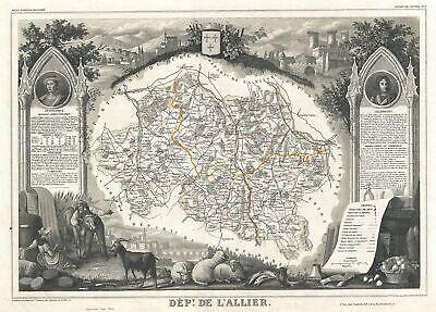 1852 Levasseur Map of L'Allier Department, France (Saint-Pourçain Wine Region) France Wine Region Map
