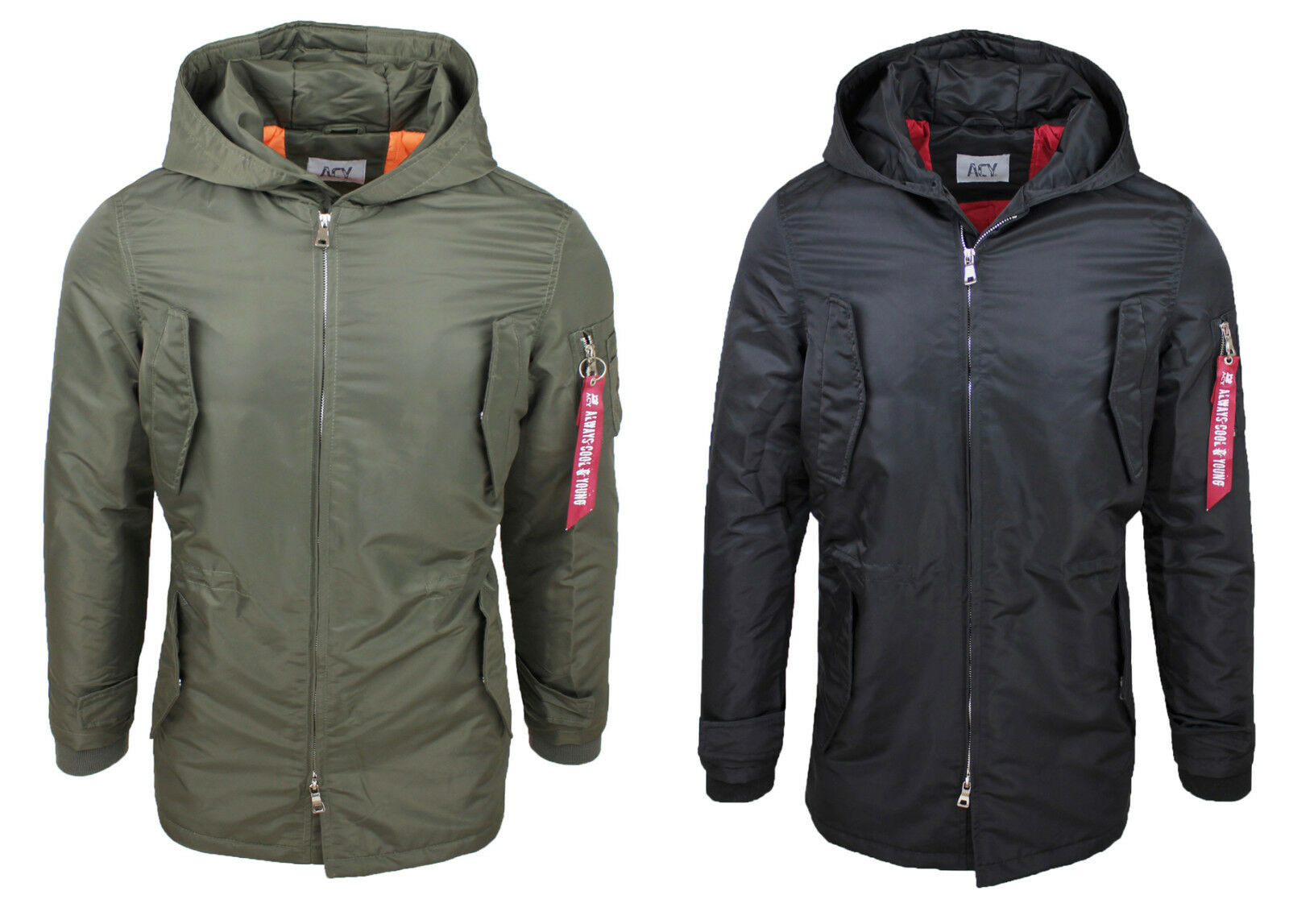 buy online 2eecd f85ef GIACCONE PARKA UOMO ACY STYLE VERDE NERO INVERNALE CASUAL ...