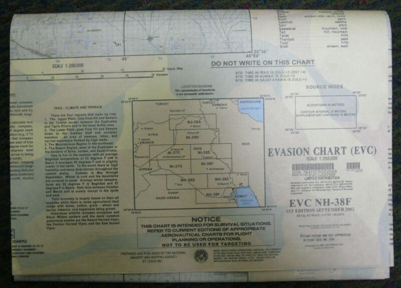 US ARMY ESCAPE EVASION CHART MAP EVC NH-38F IRAQ KUWAIT SAUDI 2002 NEW