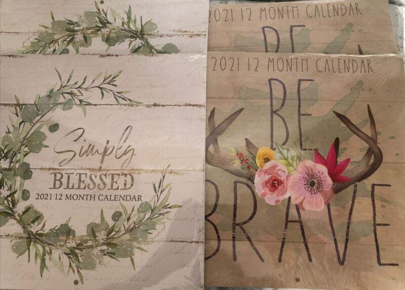 Dollar Tree 2021 Calendars Lot Of 4 Simply Blessed Be Brave DIY crafting