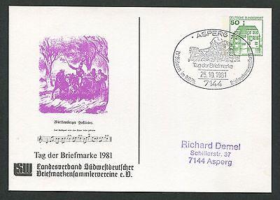 BRD PRIVAT-GA 1981 TAG DER MARKE PFERDE-KUTSCHE PFERD HORSE ASPERG d6161