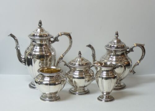 Gorham Gadroon Sterling Silver 5-Piece Coffee / Tea Set,  2740 grams
