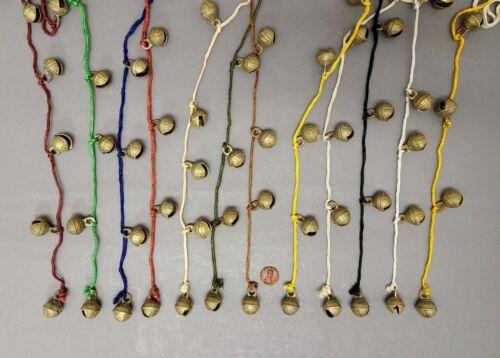 "Bells 12-Brass Bells Tied on 36""Long Vibrant Color Strings 0.75""Dia Set/12"