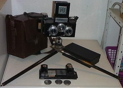 RARITÄT:alte Stereofotokamera Ferdinand Müller,Eisenach,Videplast mit Zubehör
