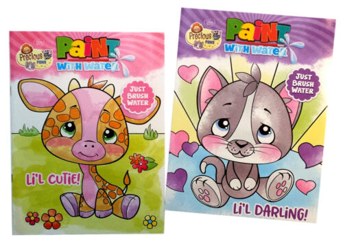 Precious Paws By Precious Moments Kids Paint with Water Books Book Set of 2 NEW