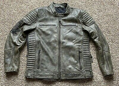 NEW  Harley Davidson Men's Cool Gray Weathered Leather Jacket XL $529 retail