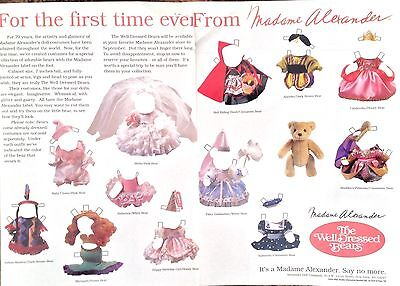 Madame Alexander The Well Dressed Bears Advertising Paper Doll, Mag. PD, 1993