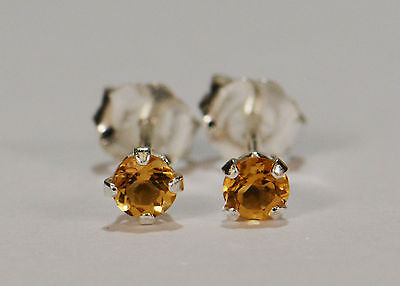 BEENJEWELED GENUINE NATURAL MINED CITRINE EARRINGS~STERLING SILVER~3MM Natural Citrine Earring