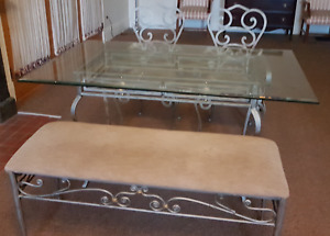 Glass Kitchen Table with 2 chairs and Bench