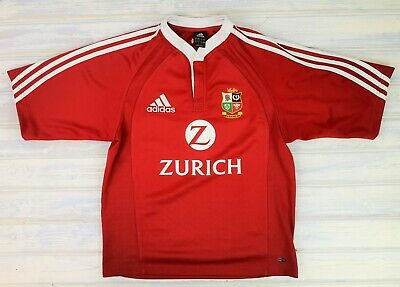 Mens ADIDAS Lions 2005 New Zealand Tour RUGBY SHIRT RED SMALL uk GC