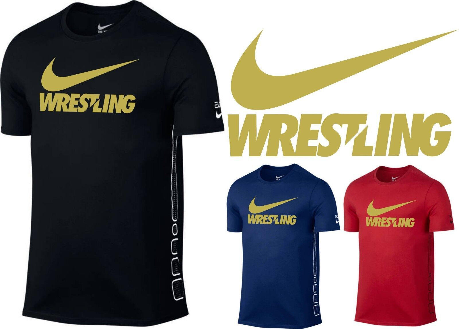 cd52f0640 Men's Original T-Shirt Nike Elite GOLD Wrestling Training Shirt S-XL ...